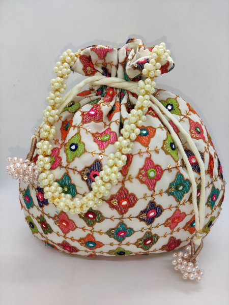 Indian wedding favor bag multi thread mirror work beaded chain potli bag give away gift handbag purse pouch