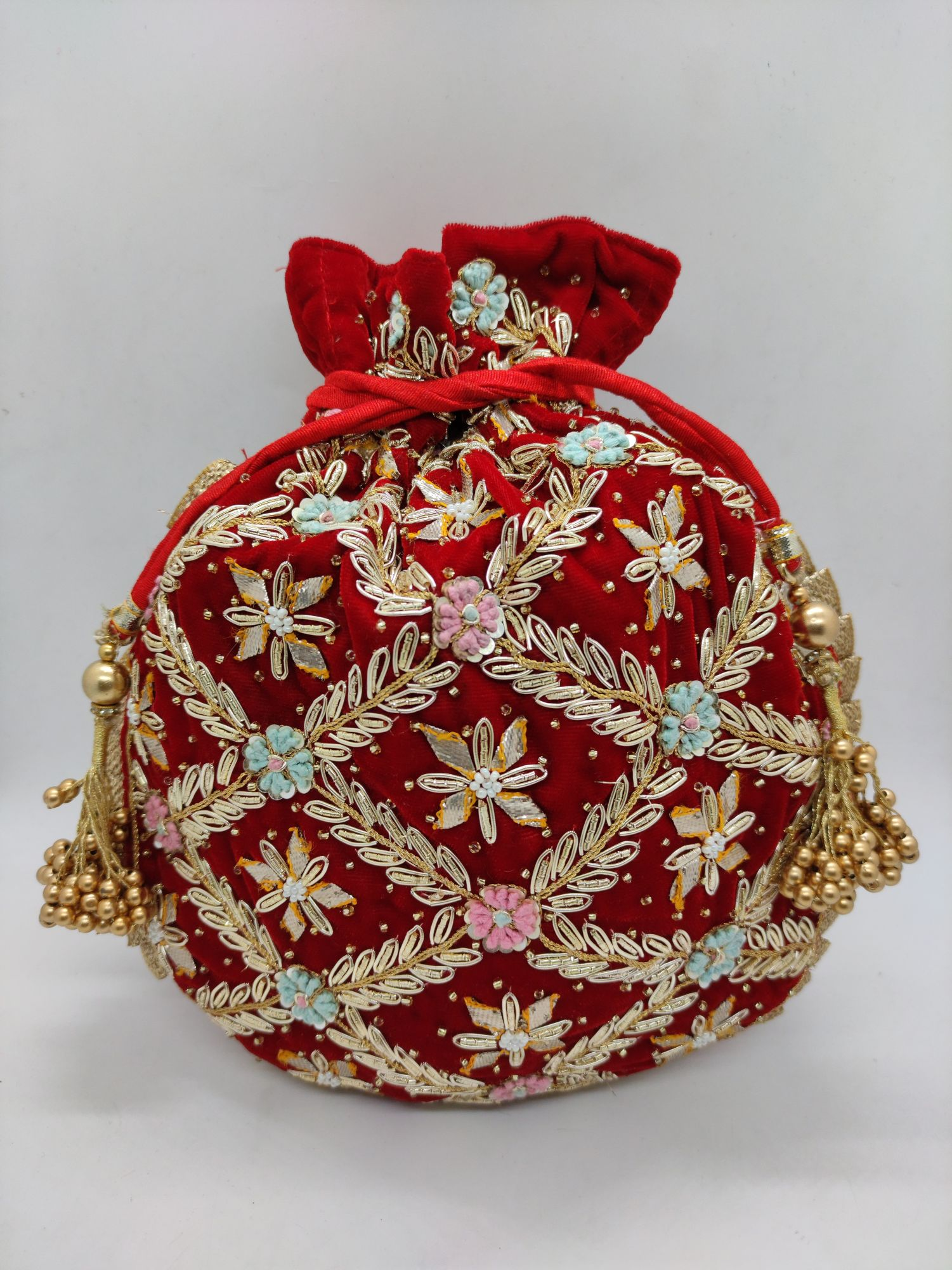 "rose garnet velvet wedding day evening drawstring potli bag for woman | zardosi sequin embellish designer inspired handbag with pearl handle   Package Contents: 1 Size: 10"" x 8""   Designed with the heart, this beautiful Potli or batawa bag are e"