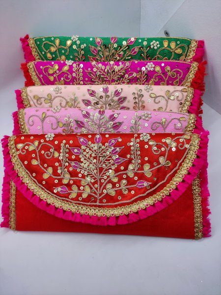 wedding favor handmade gota patti embroider assorted color gifting woman envelope wallet | traditional indian art deco embroider purse