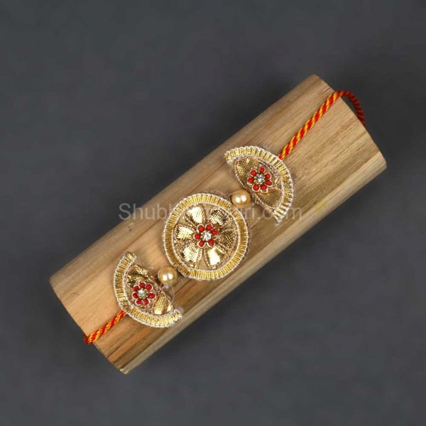 Handcrafted Gotta Patti Flower Rakhi