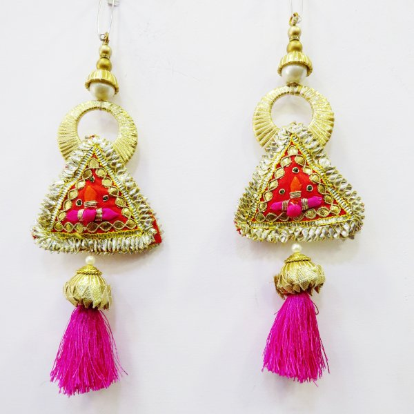 Triangular Gota Patti Handmade Gold Pink Purse Hanging Tassels For Tradtional Indian Saree Lehnga Purses