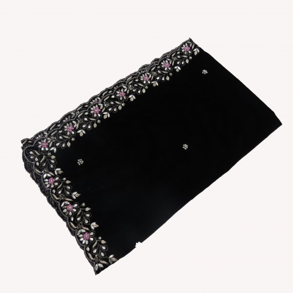 Black Velvet Shawl Hand Wrap with hand work of zardozi Gota  Cutdana Cutwork Embroidred Shawl