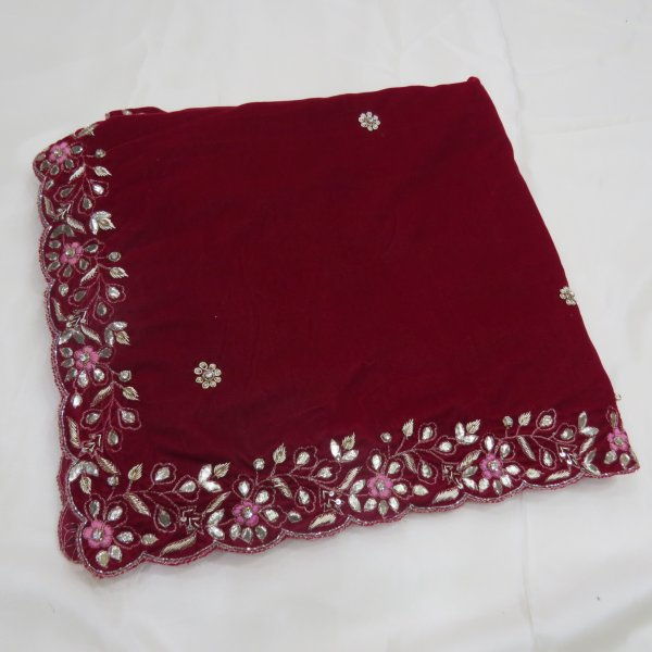 Red Velvet Shawl Hand Wrap with hand work of zardozi Gota  Cutdana Cutwork Embroidred Shawl