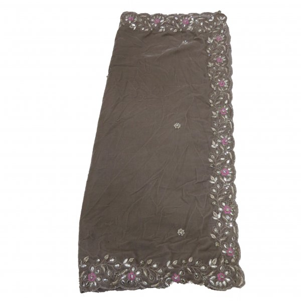 Brown Velvet Shawl Hand Wrap with hand work of zardozi Gota  Cutdana Cutwork Embroidred Shawl