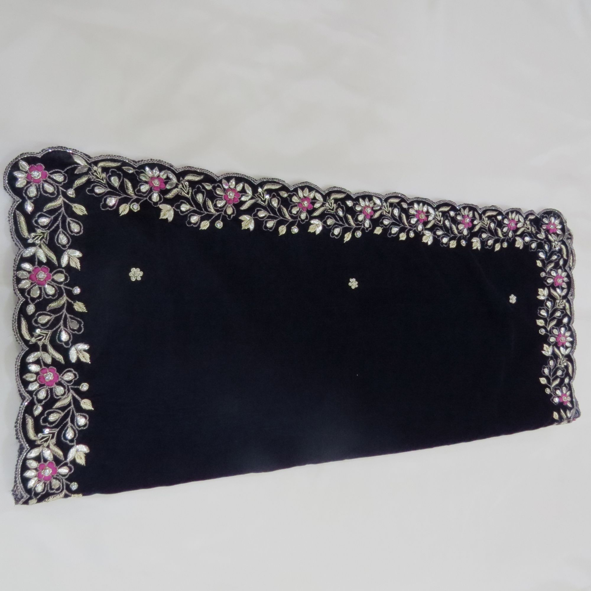 Navy Blue Velvet Shawl Hand Wrap with hand work of zardozi Gota  Cutdana Cutwork Embroidred Shawl