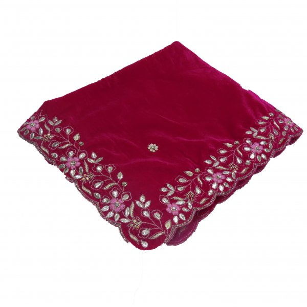 Rani Velvet Shawl Hand Wrap with hand work of zardozi Gota  Cutdana Cutwork Embroidred Shawl