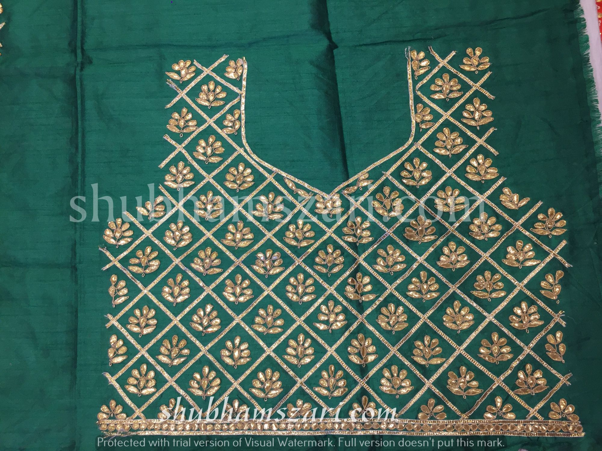 Gota patti blouse in Dark green colour