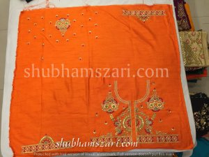 Gota patti blouse with budwork in Orange colour