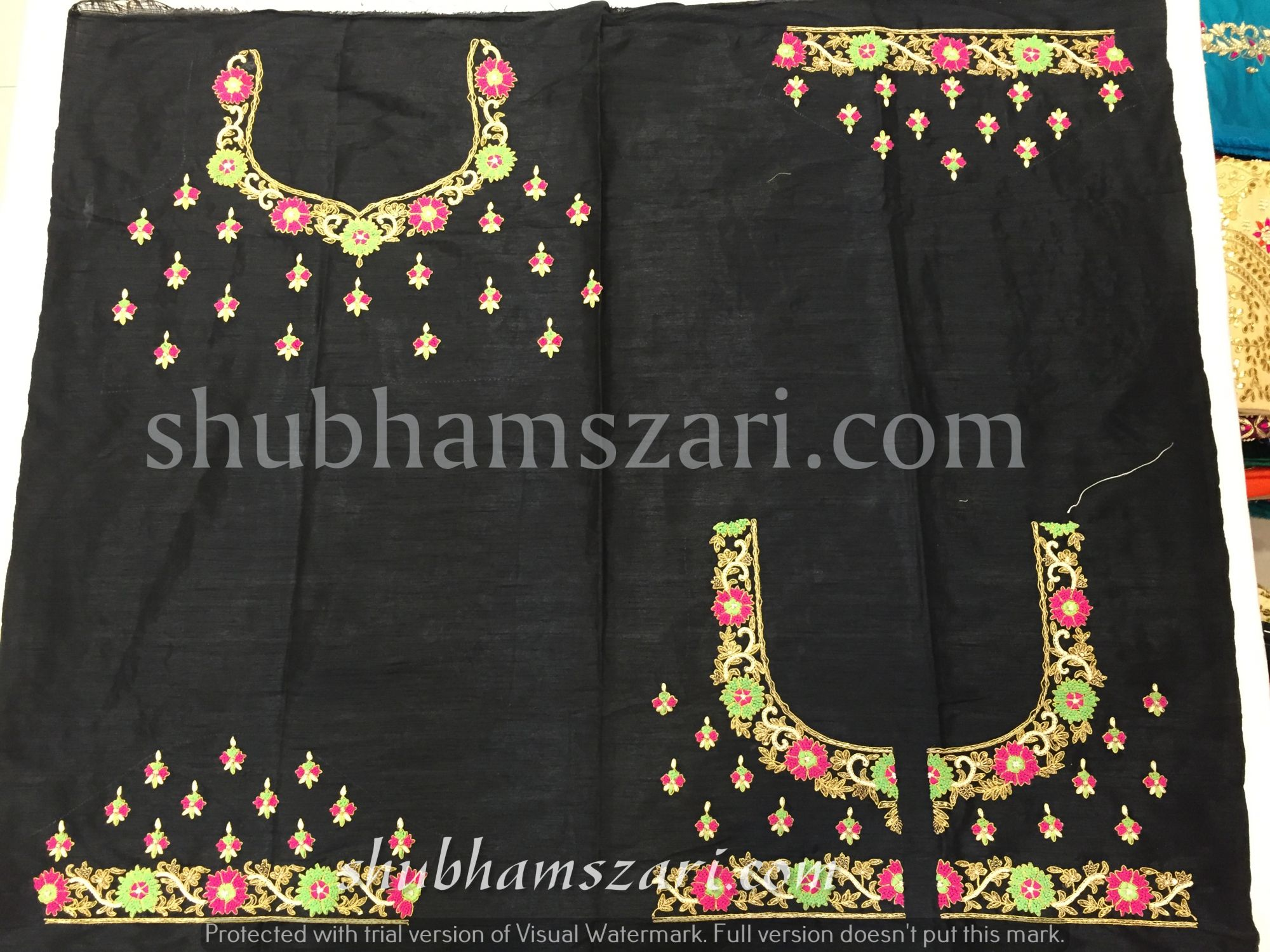 Gota patti blouse with knot work in Black colour
