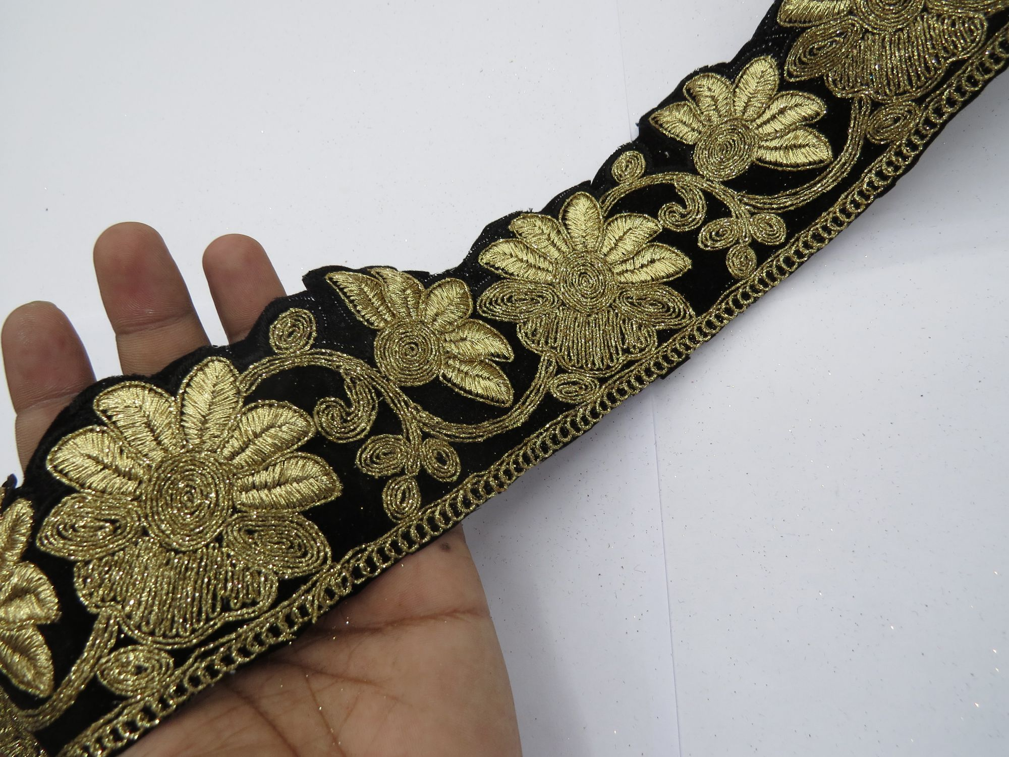 Decoractive Velvet Lace Saree Fabric Lace Gold Metallic Woven Sewing Saree Blouse Dupatta || Decorative Cushion Cover Fabric || Crafting Ribbon