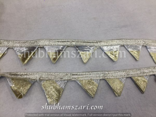 GOLD SILVER MIX  color handmade embellish dupatta lace|| crafting ribbon tape || curtain fabric trim || edging for cushion covers
