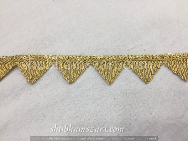 GOLD  color handmade embellish dupatta lace|| crafting ribbon tape || curtain fabric trim || edging for cushion covers