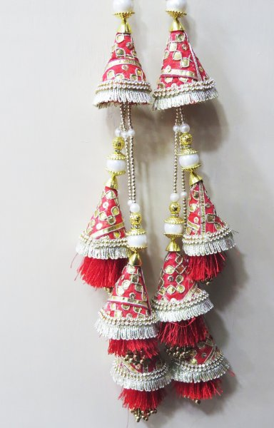 Red And Golden Gota Fabric Gota Patti and Pearl Beaded Traditional Indian Bridal Lehenga Tassels | Ethnic Sewing Tassel Latkan For Indian Saree Blouse