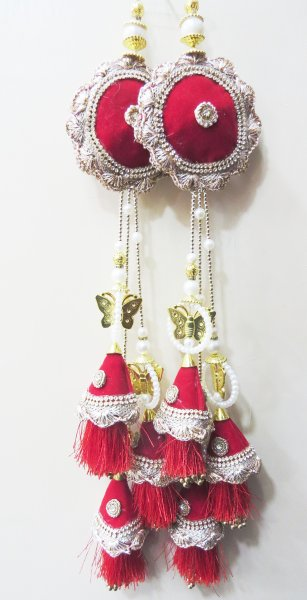 Indian Long Lehenga Red And Golden Beaded Fancy Lehnga Blouse Tassels Set | Sewing Saree blouse Tassel Dress Material | Home Decor Decorative Hanging