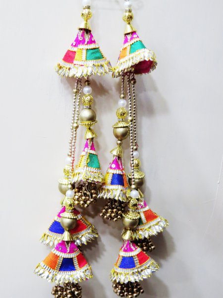 Multi Colour Traditional Indian Lehnga Blouse  Saree Handmade Gota Patti Buty Tassels Purse Hanging Crafting Sewing