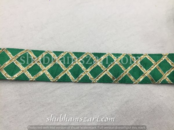 GREEN color handmade embellish dupatta lace|| crafting ribbon tape || curtain fabric trim || edging for cushion covers