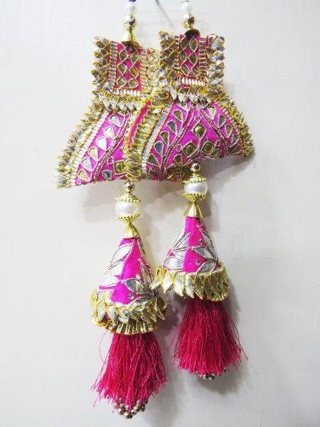 Traditional Handwork Rani Colour Tassel Latkan Emblish With Lehnga Blouse Saree Dupatta Hanging Lehnga Tassels