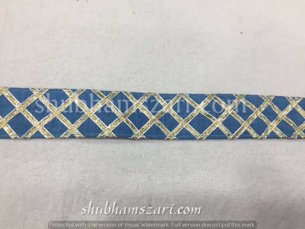 BLUE color handmade embellish dupatta lace|| crafting ribbon tape || curtain fabric trim || edging for cushion covers