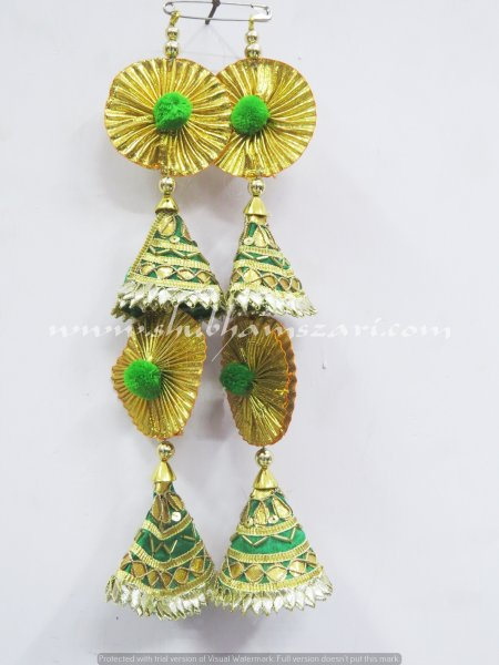 Traditional Handwork Green Colour Golden Gota Work Tassel Latkan Emblish With Lehnga Blouse Saree Dupatta Hanging