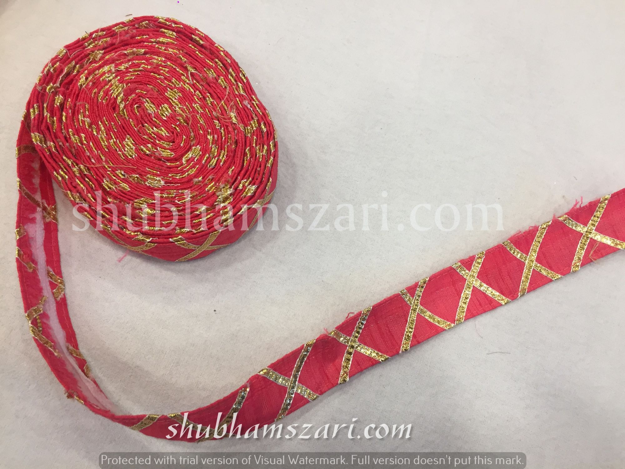 RED color handmade embellish dupatta lace|| crafting ribbon tape || curtain fabric trim || edging for cushion covers