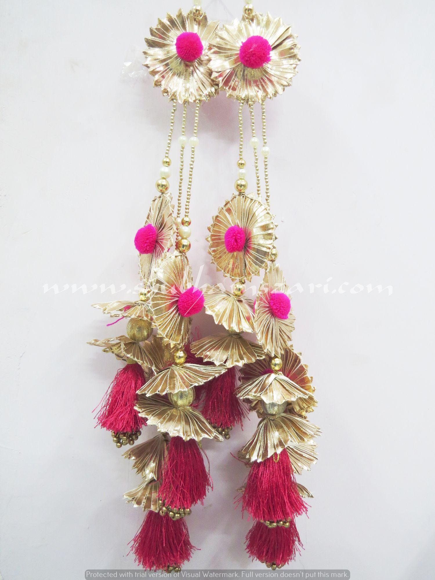 Traditional Handwork Gota Flower With Colour Pom Pom  Gota Work Tassel Latkan Emblish With Lehnga Blouse Saree Dupatta Hanging