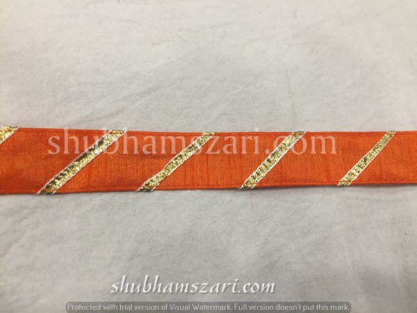 ORANGE color handmade embellish dupatta lace|| crafting ribbon tape || curtain fabric trim || edging for cushion covers
