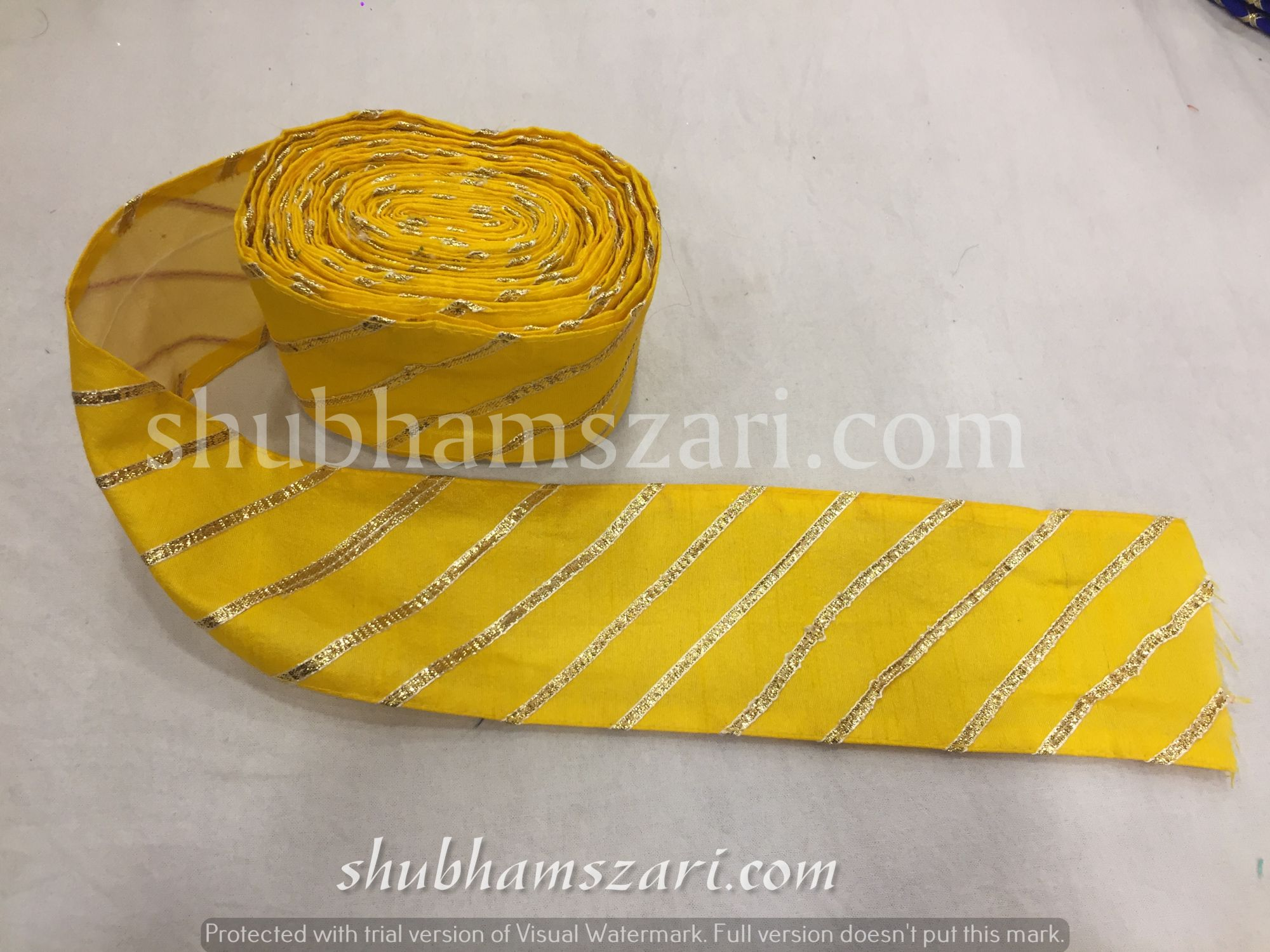 YELLOW color handmade embellish dupatta lace|| crafting ribbon tape || curtain fabric trim || edging for cushion covers