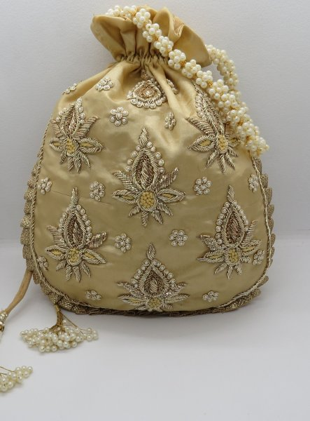 Wedding Bridal Gold Golden Zardosi Embroidered Potli Bag Evening Handbag For Women Bridemaids Gift