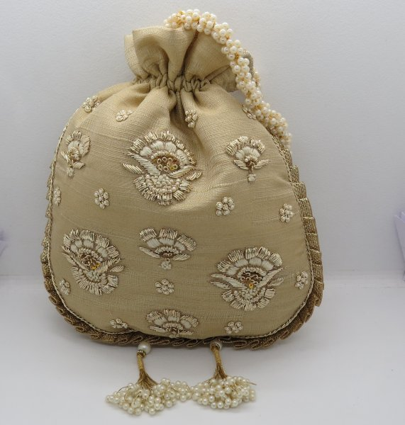Wedding Bridal Gold Golden Zardosi  Thred Embroidered Potli Bag Evening Handbag For Women Bridemaids Gift