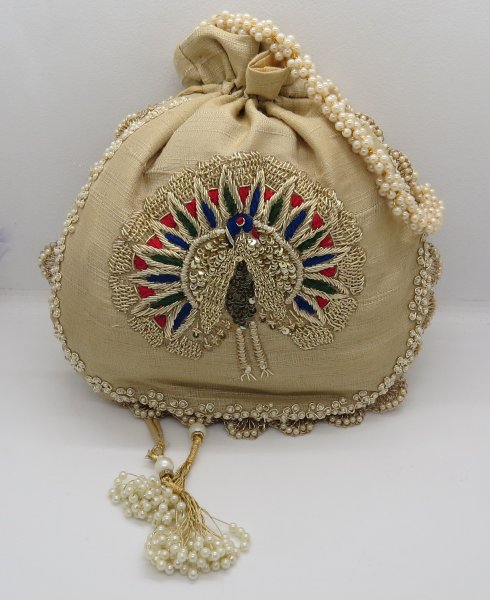 Thred hand Embroider Applique Peacock Silk Fabric Women Handmade Handbag Potli Bags, Indian Artisian Handbag, Traditional Handbag