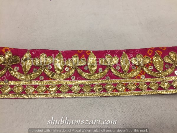 Rani Bandhej Gota Patti Work Indian Saree Border Embellishment Lace Sewing Trim For Dresses Belt & Hat Making