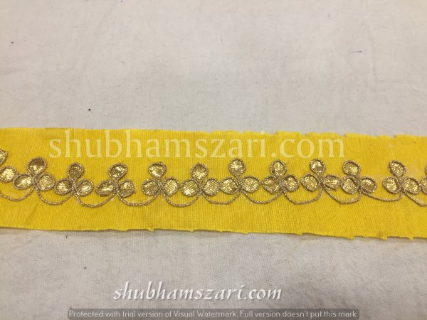 Yellow Gota Patti Work Indian Saree Border Embellishment Lace Sewing Trim For Dresses Belt & Hat Making