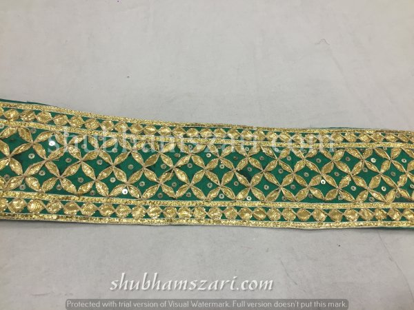 Green Gota Patti Work Indian Saree Border Embellishment Lace Sewing Trim For Dresses Belt & Hat Making