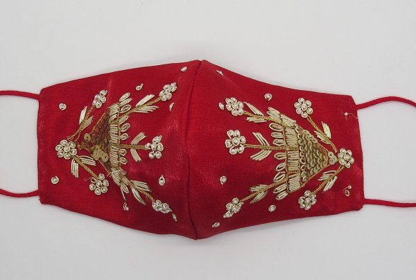 Golden Zardosi Hand Embroider Beautiful Red silk fabric embellishment face mask for woman | fancy face mask for woman | wedding face mask