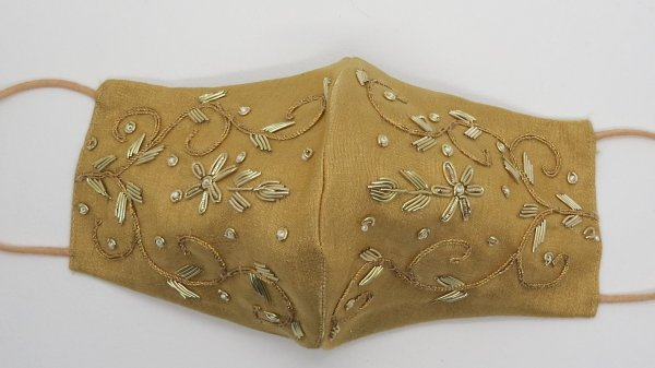 Beautiful handmade Gold silk fabric zardosi embroider face mask | indian mask for wedding | fancy face mask for woman | embellish face mask