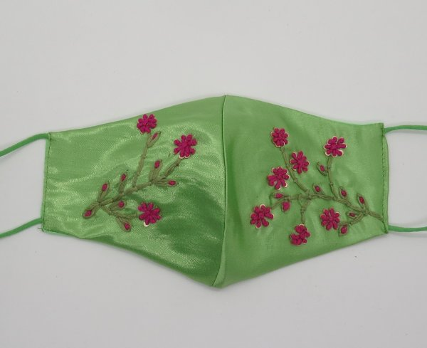 Floral Texture Silk Embroider Face Mask For Woman | Designer Fashion Mask | Facemask For Bridal Party | Indian Mask For Wedding