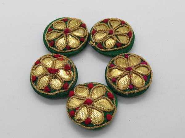 Hand Gota Work Embellishment Button Indian Fancy Gota Patti Bridesmaids Design Decorative Hand Crafted Fabric Thread Work Sewing Buttons