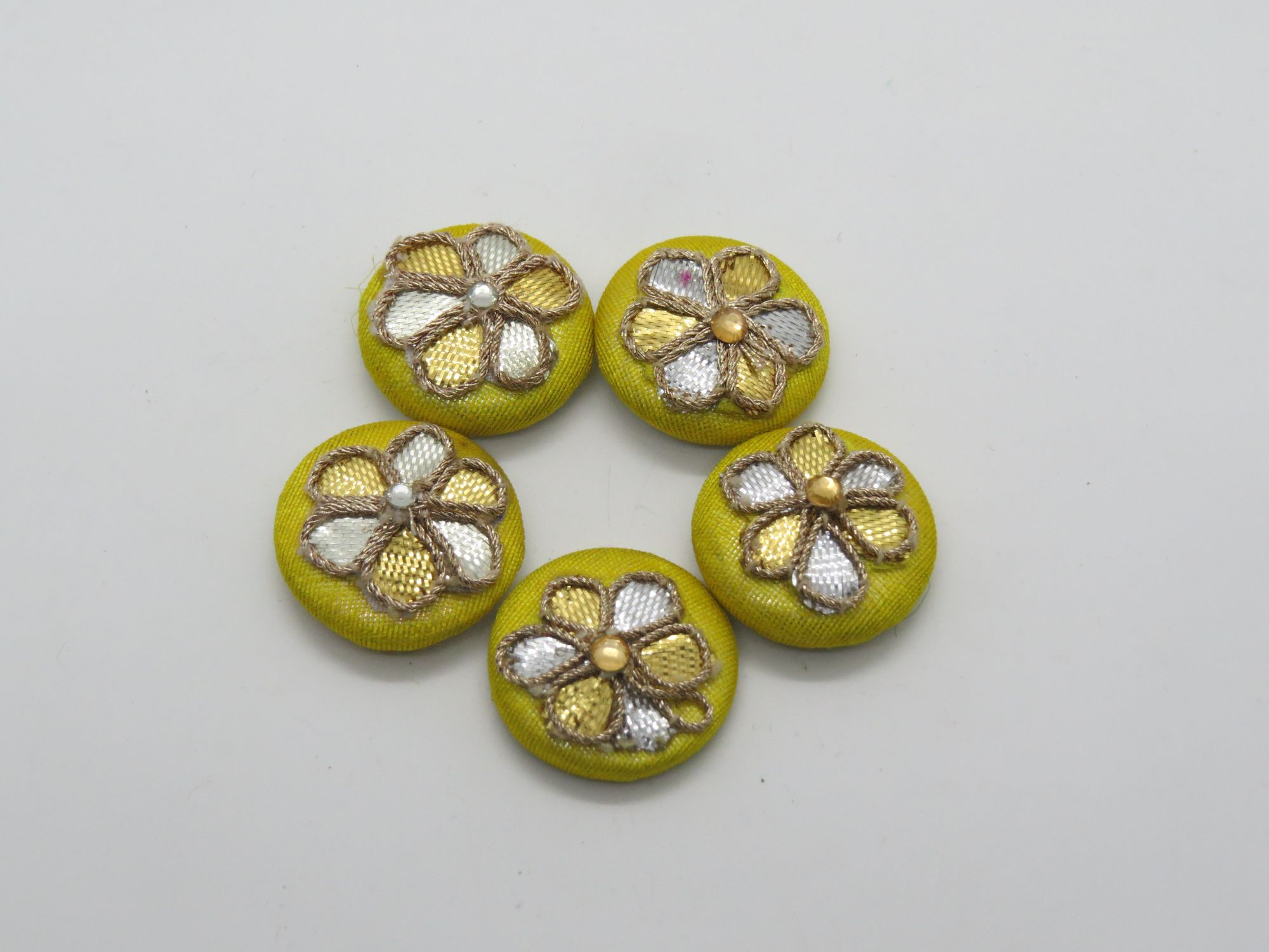 Hand Gota Patii Work Embellishment Button Indian Fancy Gota Patti Bridesmaids Design Decorative Hand Crafted Fabric Thread Work Sewing Buttons