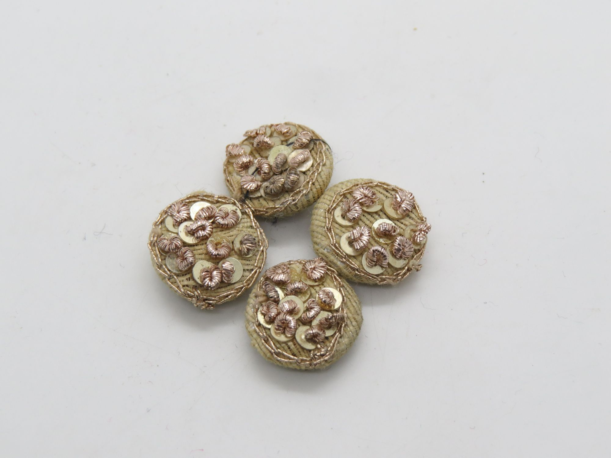 Hand Tikki Zardozi Work Embellishment Button Indian Fancy Zari Zardozi Bridesmaids Design Decorative Hand Crafted Fabric Thread Work Sewing Buttons