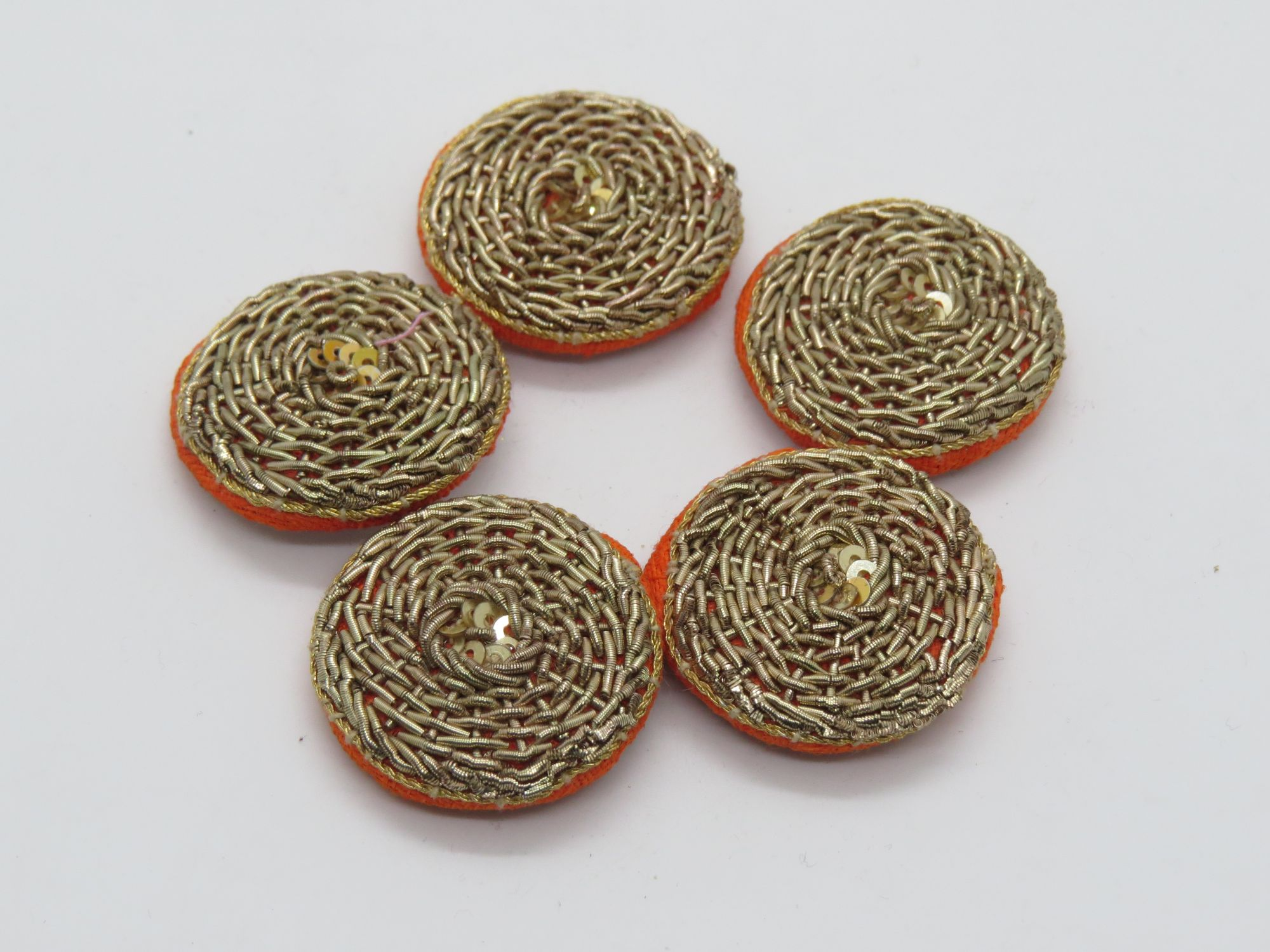 Hand Zardozi Work Embellishment Button Indian Fancy Zari Zardozi Bridesmaids Design Decorative Hand Crafted Fabric Thread Work Sewing Buttons