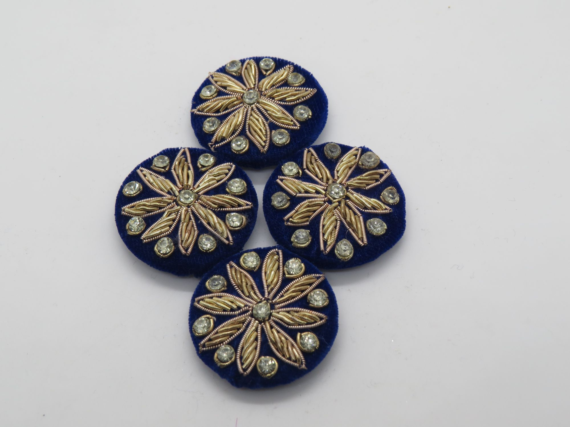 Hand  Stone Zardozi Thred work Embellishment Button Indian Fancy Zari Zardozi Bridesmaids Design Decorative Hand Crafted Fabric Thread Work Sewing Buttons