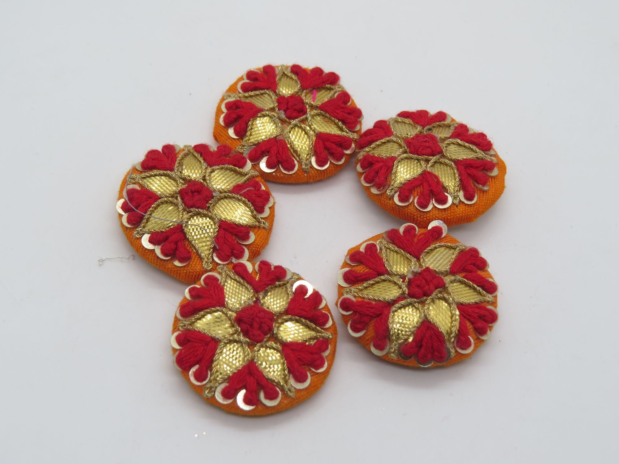 Hand Thred Gota Patti work Embellishment Button Indian Fancy Gota Pattidesmaids Design Decorative Hand Crafted Fabric Thread Work Sewing Buttons