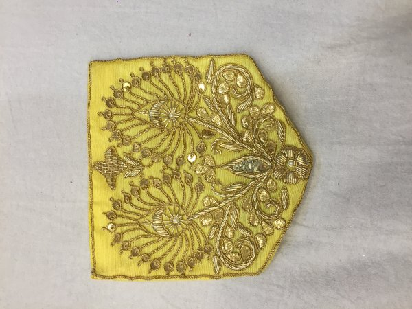 YELLOW HAND CRAFTED THRED WORK POCKET FOR SUITS SHIRT||FOR GIFTING||PATCH||CLOTH DECORATED||APPLIQUE