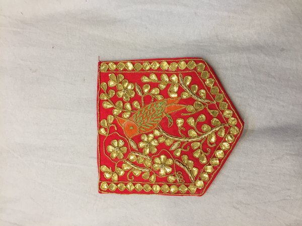 RED HAND CRAFTED THRED GOTA PATTI WORK POCKET FOR SUITS SHIRT||FOR GIFTING||PATCH||CLOTH DECORATED||APPLIQUE