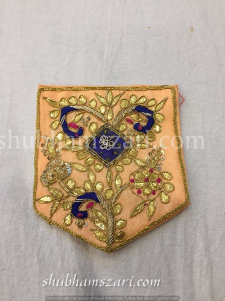 PEACH HAND CRAFTED GOTA PATTI WORK POCKET FOR SUITS SHIRT||FOR GIFTING||PATCH||CLOTH DECORATED||APPLIQUE