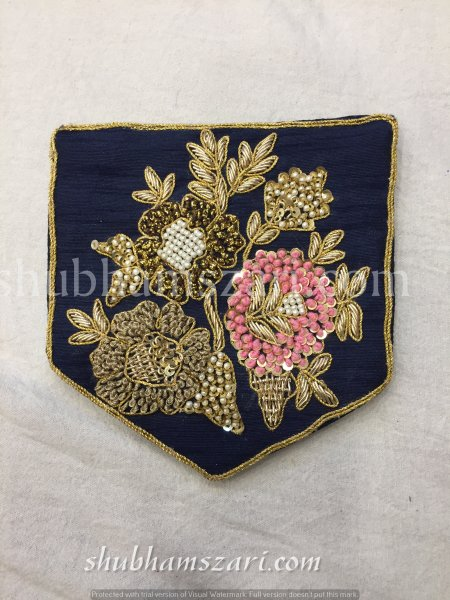 NAVY BLUE HAND CRAFTED KNOT ZARDOZI WORK POCKET FOR SUITS SHIRT||FOR GIFTING||PATCH||CLOTH DECORATED||APPLIQUE