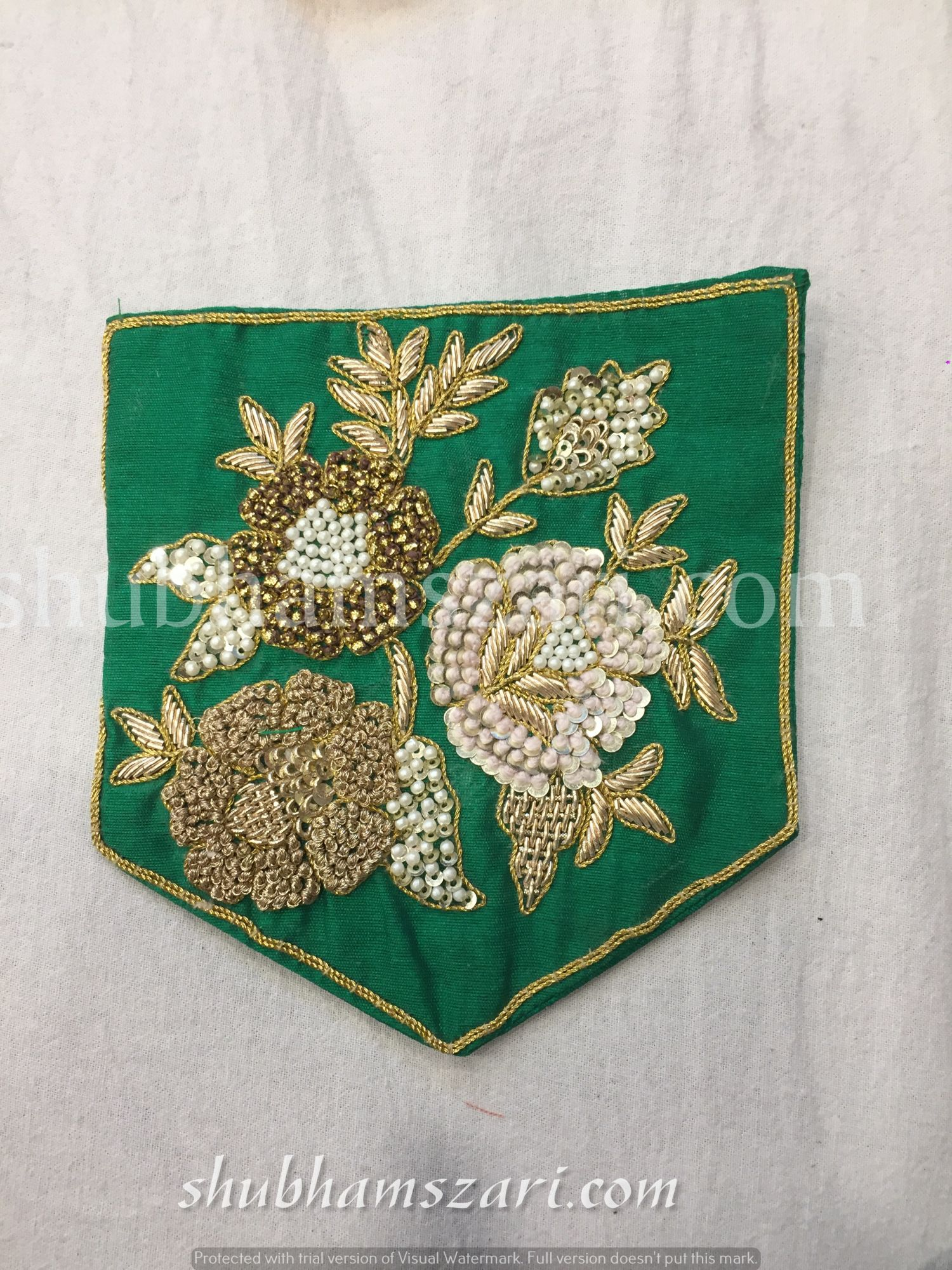 GREEN HAND CRAFTED KNOT ZARDOZI WORK POCKET FOR SUITS SHIRT||FOR GIFTING||PATCH||CLOTH DECORATED||APPLIQUE