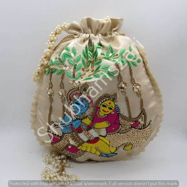 Indian Radha Krishna God and Goddess Tradtional Zardosi Work Beaded Potli Bag For Puja,Wedding Festival Handbags Multi Hand Work Handbag Women's Purse