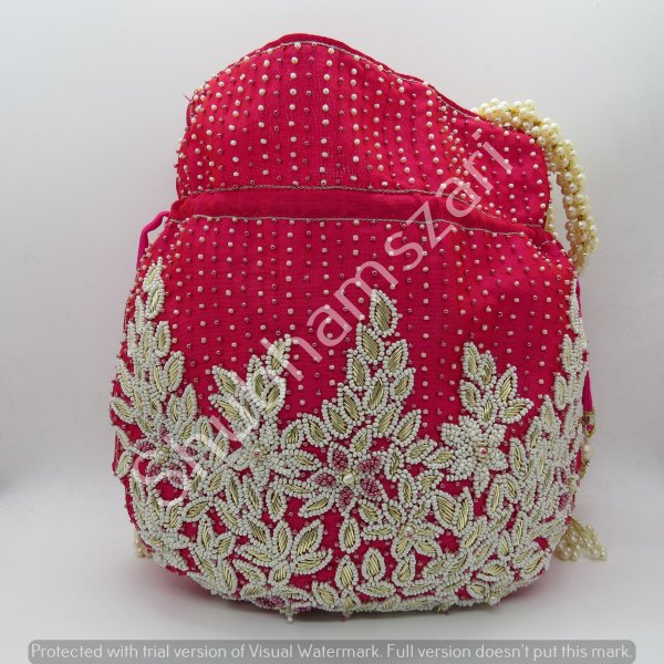 gift for her Rani potli bag embellished, Pearl Designer, Pearls, bridal, wedding handbag, pouch beaded handle,
