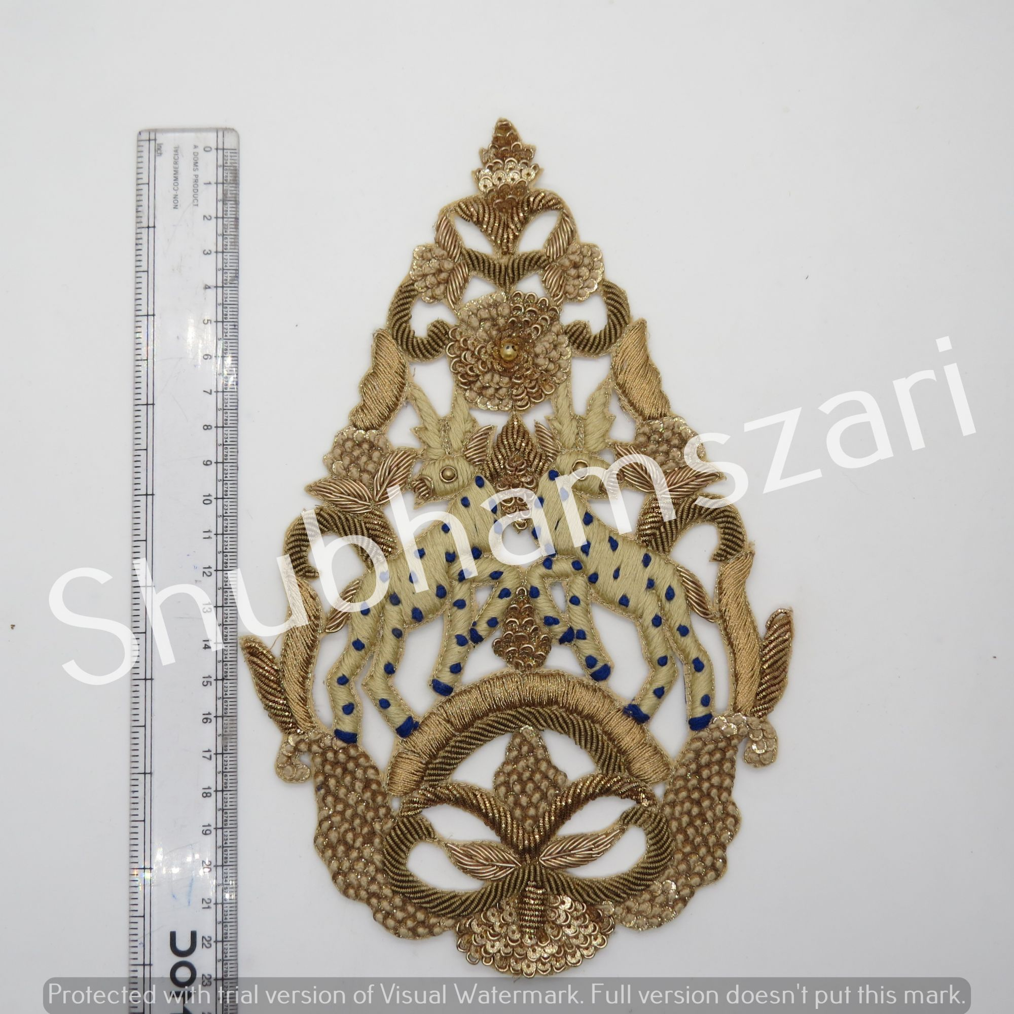Floral Neck Patch, Gold Zardozi Applique, Kurta Applique, Neckline Patch, Neckline Embellishment with Sequins, Lace Neckline Applique Buty motif